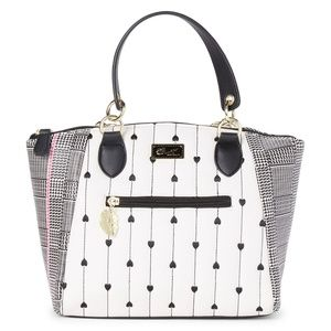 Betsey Johnson Pink, Black & White Kelsey Satchel
